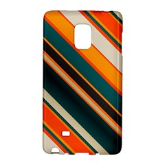 Diagonal Stripes In Retro Colors samsung Galaxy Note Edge Hardshell Case by LalyLauraFLM
