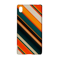 Diagonal Stripes In Retro Colors 			sony Xperia Z3+ Hardshell Case by LalyLauraFLM