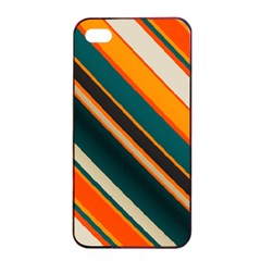 Diagonal Stripes In Retro Colors 			apple Iphone 4/4s Seamless Case (black) by LalyLauraFLM