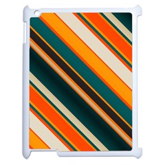 Diagonal Stripes In Retro Colors apple Ipad 2 Case (white) by LalyLauraFLM