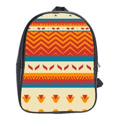 Tribal Shapes  			school Bag (large) by LalyLauraFLM