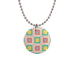 Pastel Squares Pattern 1  Button Necklace by LalyLauraFLM