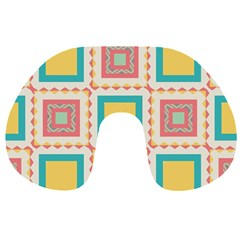 Pastel Squares Pattern Travel Neck Pillow by LalyLauraFLM