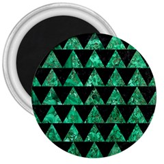 Triangle2 Black Marble & Green Marble 3  Magnet by trendistuff