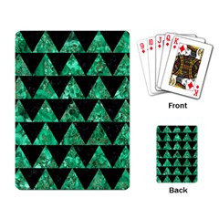 Triangle2 Black Marble & Green Marble Playing Cards Single Design by trendistuff