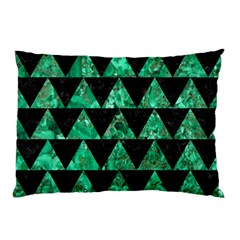 Triangle2 Black Marble & Green Marble Pillow Case by trendistuff