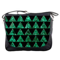 Triangle2 Black Marble & Green Marble Messenger Bag by trendistuff