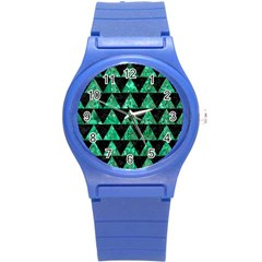 Triangle2 Black Marble & Green Marble Round Plastic Sport Watch (s) by trendistuff