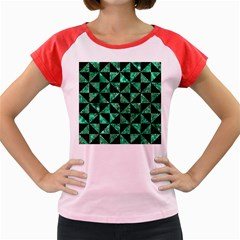 Triangle1 Black Marble & Green Marble Women s Cap Sleeve T Shirt