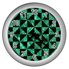 Triangle1 Black Marble & Green Marble Wall Clock (silver) by trendistuff