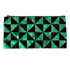 Triangle1 Black Marble & Green Marble Pencil Case by trendistuff