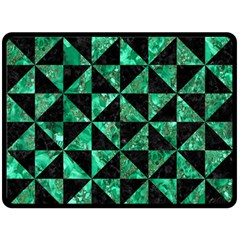 Triangle1 Black Marble & Green Marble Double Sided Fleece Blanket (large) by trendistuff