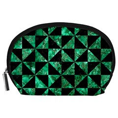 Triangle1 Black Marble & Green Marble Accessory Pouch (large)