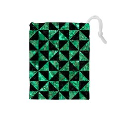 Triangle1 Black Marble & Green Marble Drawstring Pouch (medium) by trendistuff