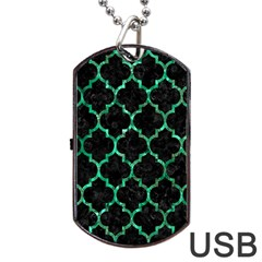 Tile1 Black Marble & Green Marble (r) Dog Tag Usb Flash (one Side) by trendistuff