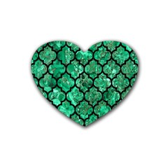 Tile1 Black Marble & Green Marble Rubber Coaster (heart) by trendistuff