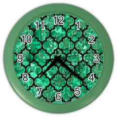 Tile1 Black Marble & Green Marble Color Wall Clock by trendistuff