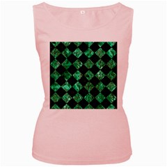 Square2 Black Marble & Green Marble Women s Pink Tank Top by trendistuff