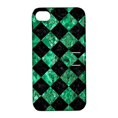Square2 Black Marble & Green Marble Apple Iphone 4/4s Hardshell Case With Stand by trendistuff