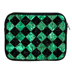 Square2 Black Marble & Green Marble Apple Ipad Zipper Case by trendistuff