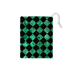 Square2 Black Marble & Green Marble Drawstring Pouch (small) by trendistuff