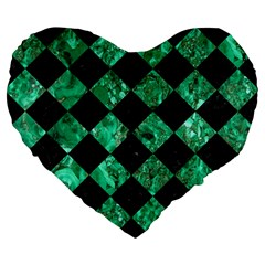 Square2 Black Marble & Green Marble Large 19  Premium Flano Heart Shape Cushion by trendistuff