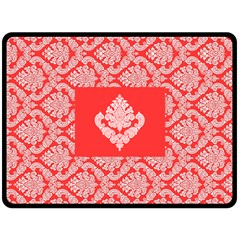 Salmon Damask Fleece Blanket (large)  by SalonOfArtDesigns