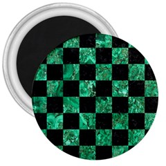Square1 Black Marble & Green Marble 3  Magnet by trendistuff