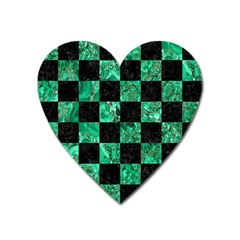 Square1 Black Marble & Green Marble Magnet (heart) by trendistuff