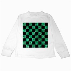 Square1 Black Marble & Green Marble Kids Long Sleeve T Shirt by trendistuff