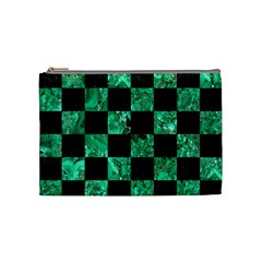 Square1 Black Marble & Green Marble Cosmetic Bag (medium) by trendistuff