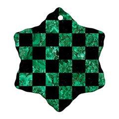 Square1 Black Marble & Green Marble Snowflake Ornament (two Sides) by trendistuff