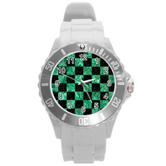 Square1 Black Marble & Green Marble Round Plastic Sport Watch (l) by trendistuff