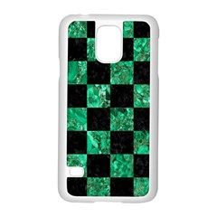 Square1 Black Marble & Green Marble Samsung Galaxy S5 Case (white) by trendistuff