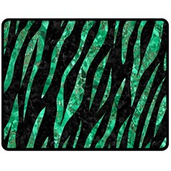 Skin3 Black Marble & Green Marble (r) Double Sided Fleece Blanket (medium)