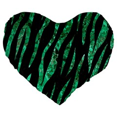 Skin3 Black Marble & Green Marble (r) Large 19  Premium Flano Heart Shape Cushion by trendistuff