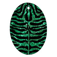 Skin2 Black Marble & Green Marble (r) Ornament (oval) by trendistuff