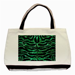 Skin2 Black Marble & Green Marble (r) Basic Tote Bag (two Sides) by trendistuff