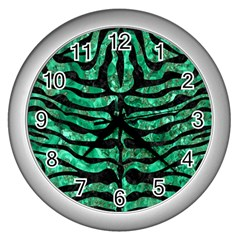 Skin2 Black Marble & Green Marble Wall Clock (silver) by trendistuff