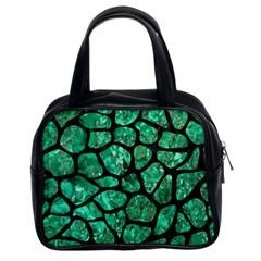 Skin1 Black Marble & Green Marble (r) Classic Handbag (two Sides) by trendistuff