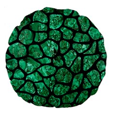 Skin1 Black Marble & Green Marble (r) Large 18  Premium Flano Round Cushion  by trendistuff