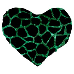 Skin1 Black Marble & Green Marble Large 19  Premium Flano Heart Shape Cushion by trendistuff