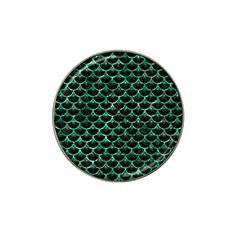 Scales3 Black Marble & Green Marble (r) Hat Clip Ball Marker