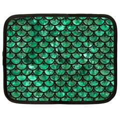 Scales3 Black Marble & Green Marble Netbook Case (xxl) by trendistuff