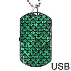 Scales3 Black Marble & Green Marble Dog Tag Usb Flash (two Sides) by trendistuff