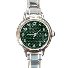 Scales2 Black Marble & Green Marble (r) Round Italian Charm Watch by trendistuff