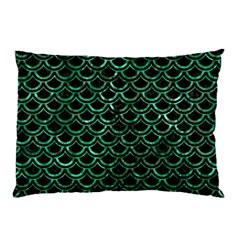 Scales2 Black Marble & Green Marble (r) Pillow Case by trendistuff