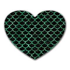 Scales1 Black Marble & Green Marble (r) Heart Mousepad by trendistuff