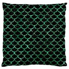 Scales1 Black Marble & Green Marble (r) Large Flano Cushion Case (one Side) by trendistuff