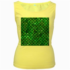 Scales1 Black Marble & Green Marble Women s Yellow Tank Top by trendistuff
